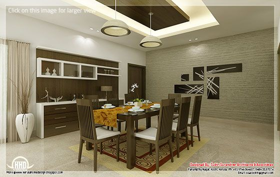Kerala home design and floor plans kitchen and dining for Interior design for hall and dining room