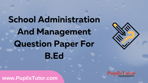 School Administration And Management Question Paper For B.Ed 1st And 2nd Year And All The 4 Semesters In English, Hindi And Marathi Medium Free Download PDF   School Administration And Management Question Paper In English   School Administration And Management Question Paper In Hindi   School Administration And Management Question Paper In Marathi