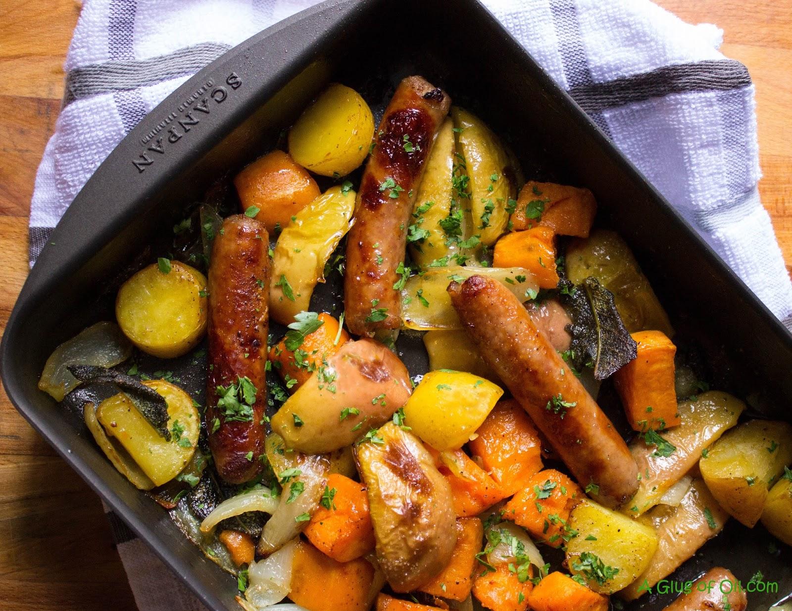 Sausage Sweet Potato and Apple Tray Bake