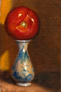 Oil painting of a red tomato placed on top of a blue and white Chinese-style miniature vase.