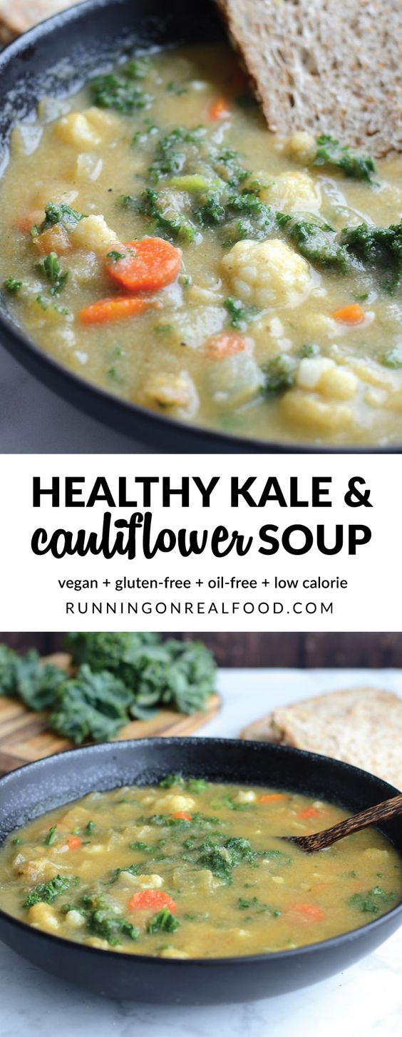 HEALTHY KALE AND CAULIFLOWER SOUP #kale #healthykale #cauliflower #cauliflowersoup #soup #souprecipes #healthysoup #healthyfood #easysouprecipes