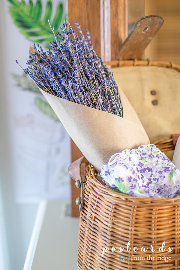 dried lavender in a vintage fishing creel