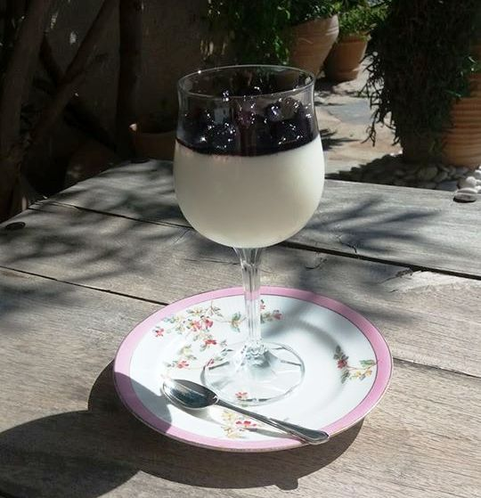 Panna cotta with black cherry spoon sweet