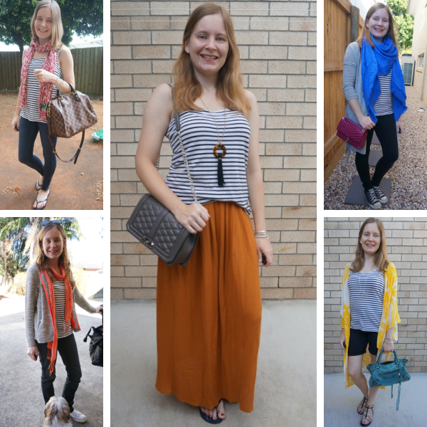 ways to wear a nacy stripe tank with bright pieces in an outfit 5 ideas | awayfromblue