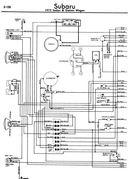 subaru sedan and wagon 1972 wiring diagrams