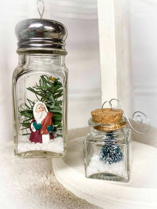 DIY Recycled jar snow globe ornaments for Christmas