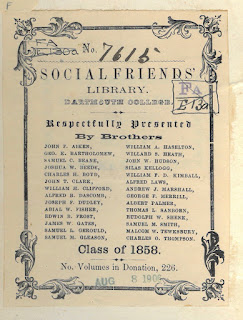 Social Friends Book plate, Class of 1858