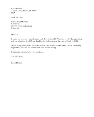 Booking Letter Sample