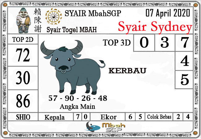 Prediksi Togel Sidney Selasa 07 April 2020 - Syair Mbah Sidney