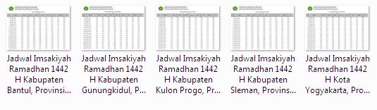 Kumpulan Jadwal Imsakiyah Ramadhan 1442 H Kabupaten/Kota se Provinsi D.I. Yogyakarta