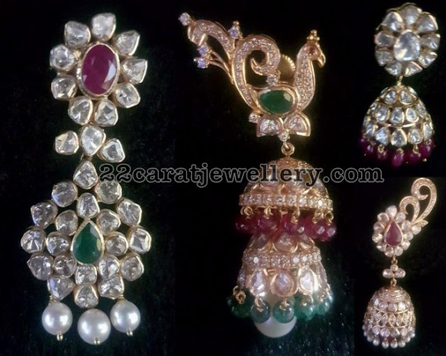 Pachi jhumkas by Sri Balaji Jewellers