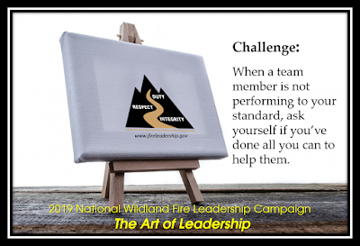 2019 National Wildland Fire Leadership Campaign - The Art of Leadership (easel with WFLDP logo and When a team member is not performing to your standard, ask youself if you've done all you can to help them.)