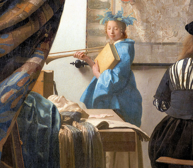 Vermeer believed that visual arts owed much to history evidenced by the appearance of Clio as well as the classical mask that lies on the table. Photo: WikiMedia.org.