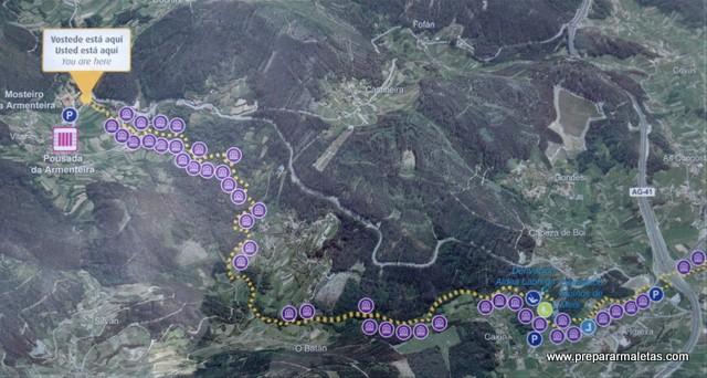 mapa con los molinos de agua Pontevedra