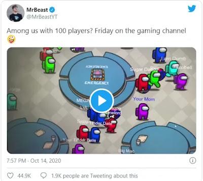 Mr Beast في لعبة AMONG US ب 100 لاعب