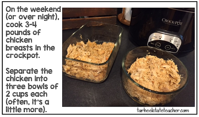 shredded chicken in the crockpot for meal prep