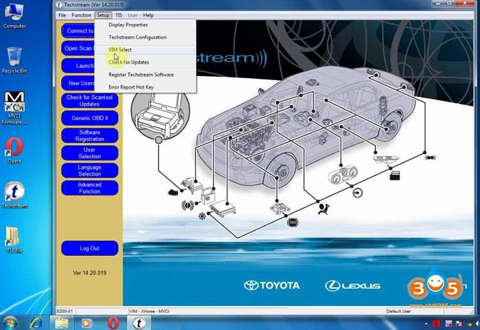 Generatic Mini Vci J2534 TIS Techstream Diagnostic Cable for Toyota//Lexus, Firmware V1.4.