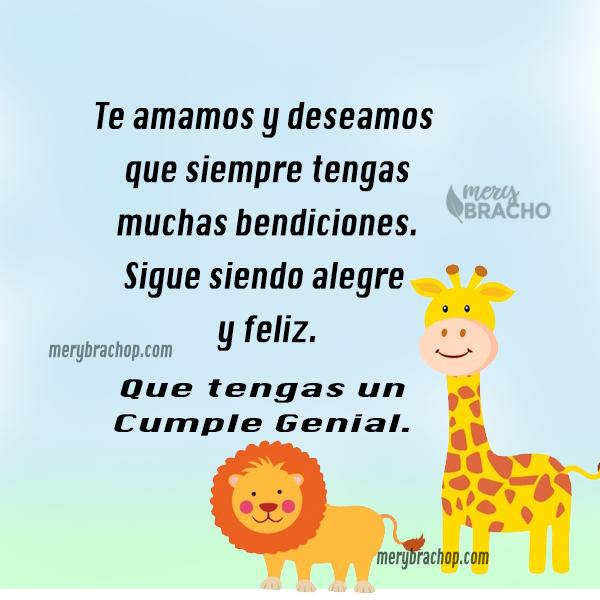 imagen con leon y jirafa para tarjeta de niño bendiciones en cumpleaños hijo hija niños