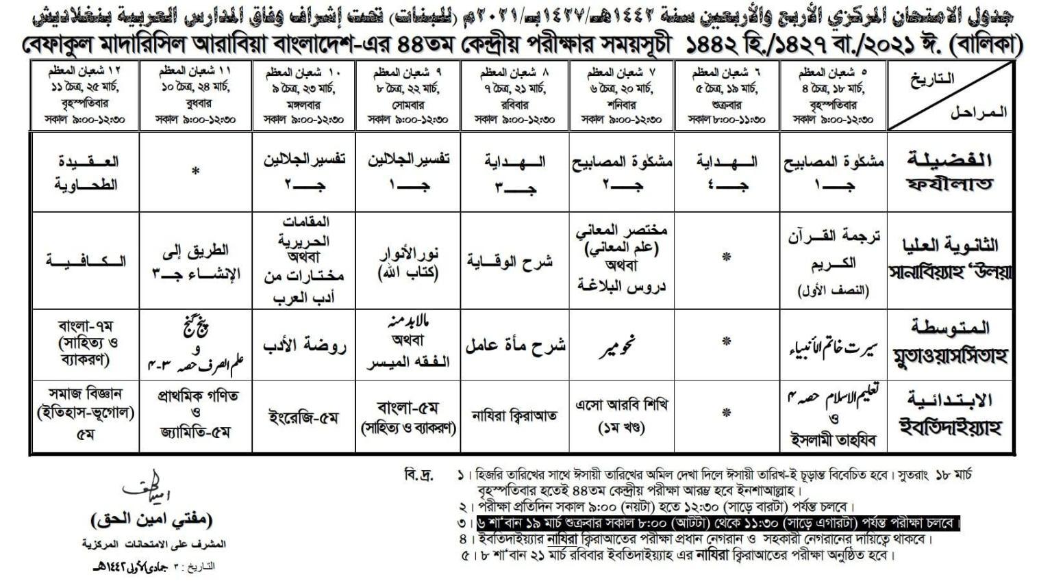 44th Befaq Exam Routine 2021 | ৪৪ তম বেফাক পরীক্ষার রুটিন ২০২১ নারী বিভাগ