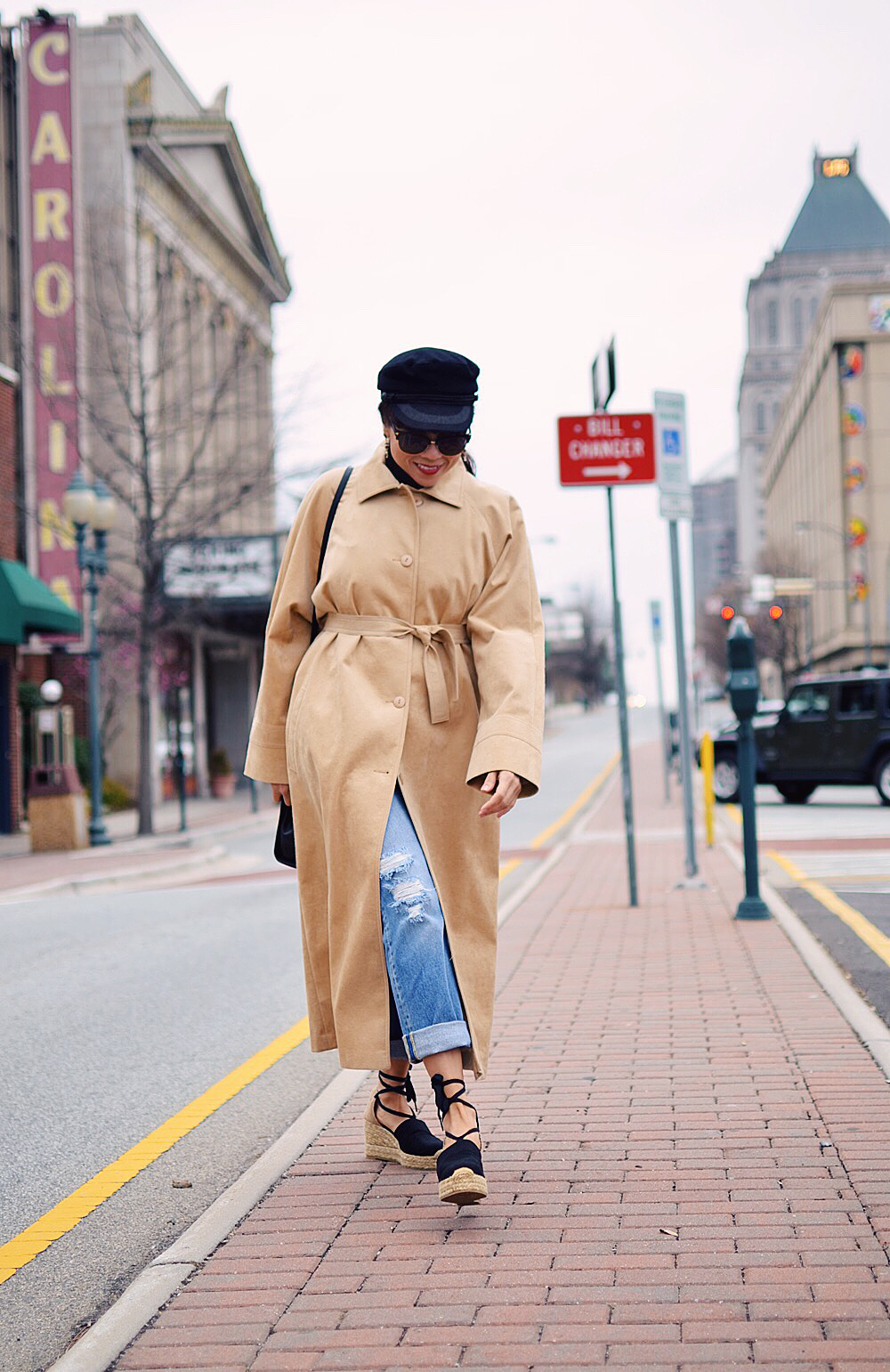 Camel suede coat street style