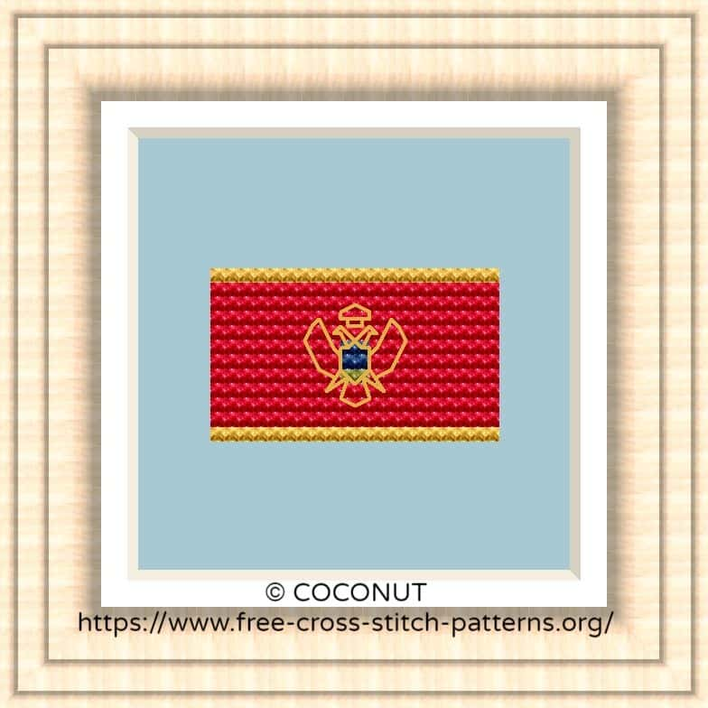 NATIONAL FLAG OF MONTENEGRO CROSS STITCH CHART