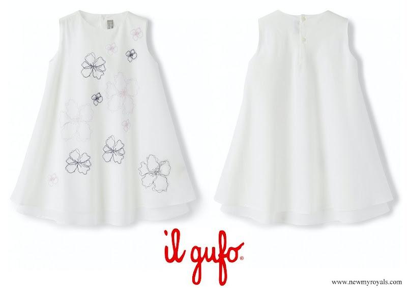 Princess Gabriella of Monaco wore IL GUFO white cotton floral-embroidered cotton dress
