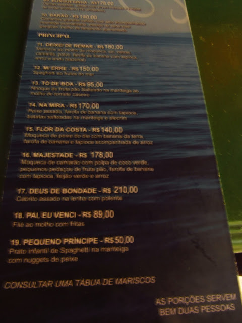 restaurante preta cardapio ilha dos frades