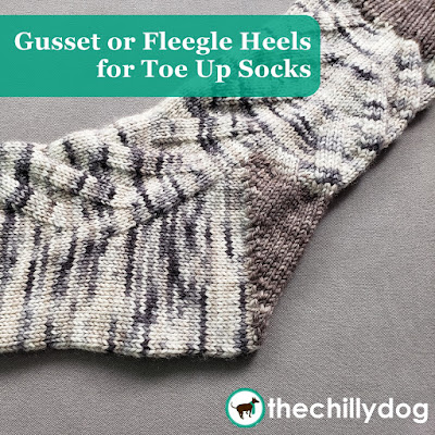 Sock Knitting Video Tutorial: How to knit a flap-free, toe up gusset heel, or Fleegle heel, without picking up stitches