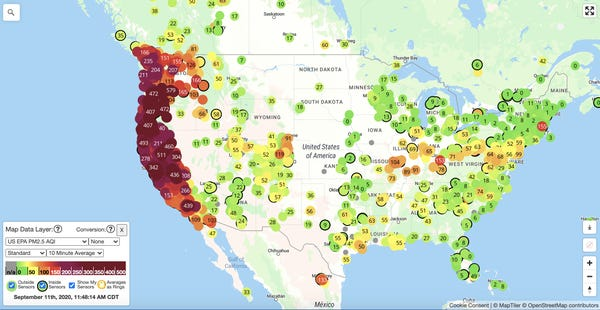 Map of the United States Worst Fires of 2020