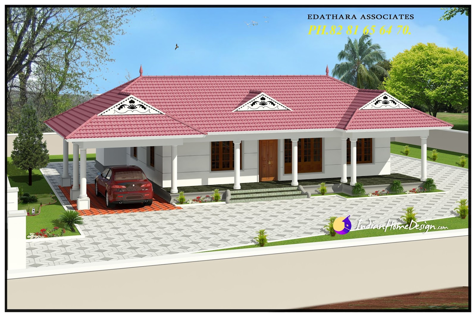 1320 sqft traditional single floor kerala home design for Single floor house plans