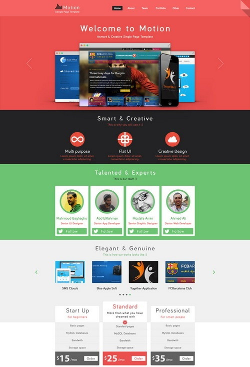 Motion single page PSD web template
