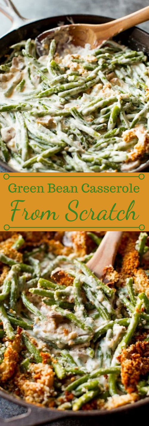 Creamy Green Bean Casserole from Scratch #vegetarian #easy #food #dinner #casserole