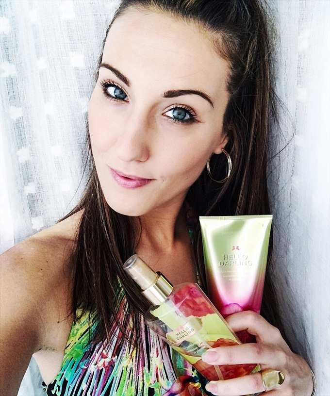 Jelena Zivanovic Instagram.Victoria's secret Hello darling body lotion and body mist.