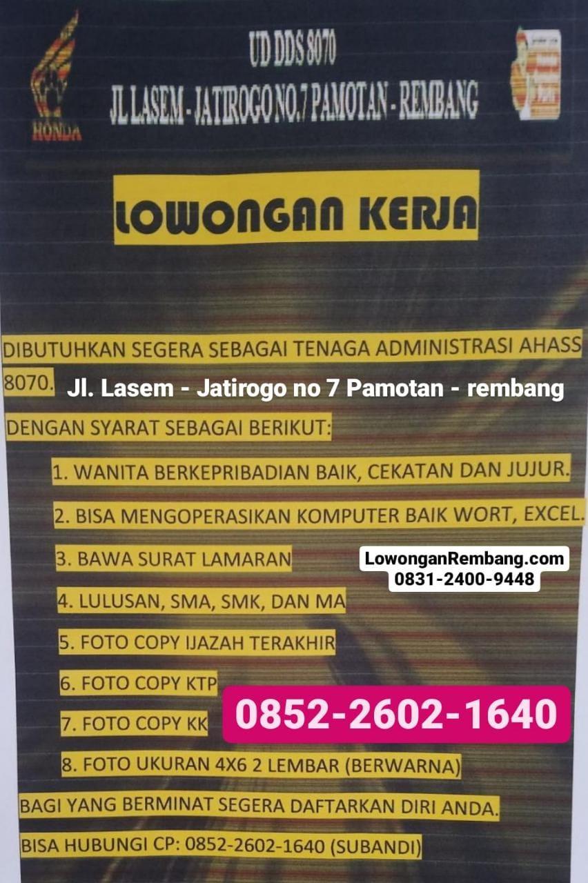 Lowongan Kerja Tenaga Administrasi AHASS 8070 Pamotan Rembang