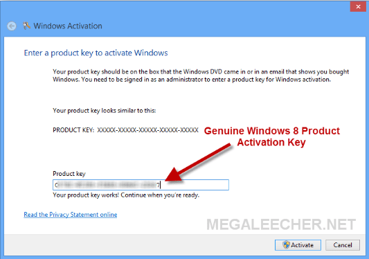 what is the product key to activate windows 8