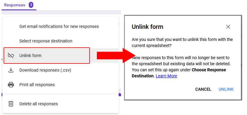 unlink form google form