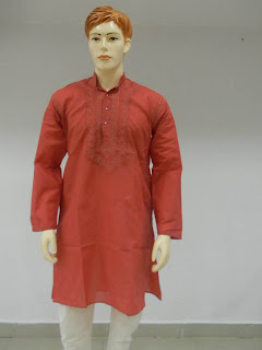 Lucknowi Chikan Red Men Kurta