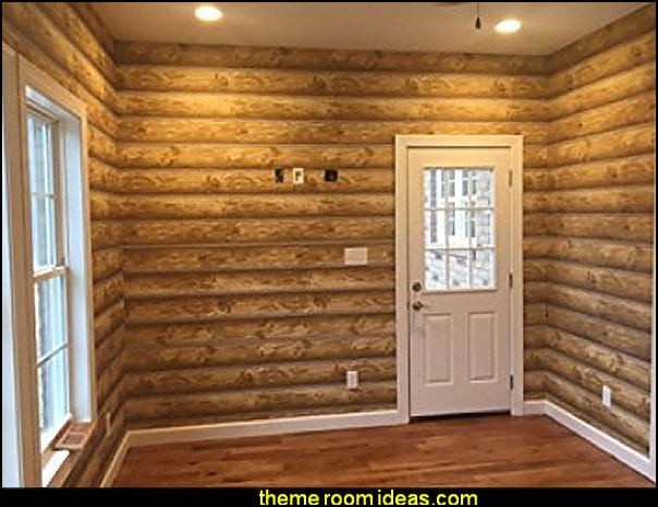 log cabin - rustic style decorating - Cabin decor - bear decor - camping in the northwoods style  - Antler decor - log cabin boys theme bedroom - Cabin Bedding - Rustic Bedding - rustic furniture - cedar beds - log beds - LOG CABIN DECORATING IDEAS - Swiss chalet ski lodge murals - camping room decor