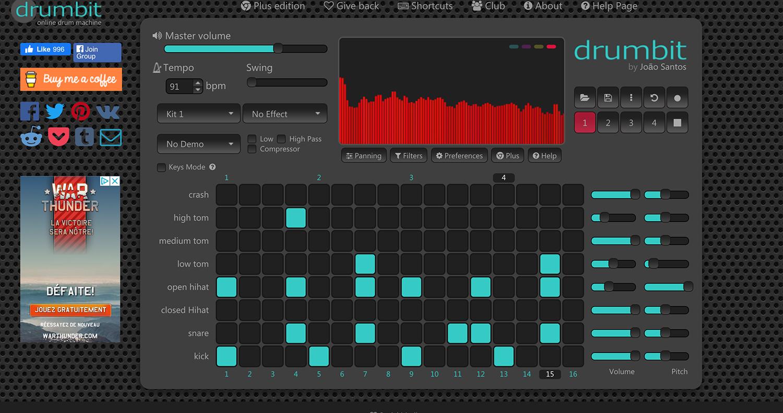 l'interface de Drumbit