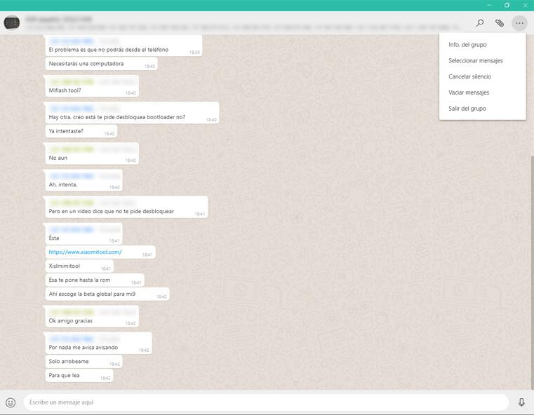 configuración chat grupo aplicación whatsapp