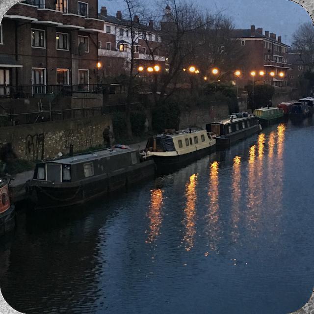 Canal & canal boats near Kings Cross Station London