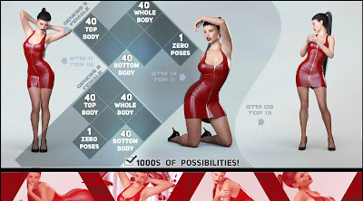 Z Visions in Red Poses and Partials for Genesis 3 and 8 Female