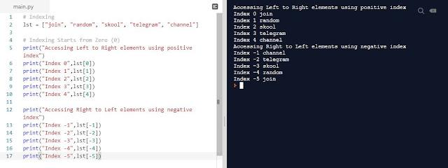 Python Programming Indexing