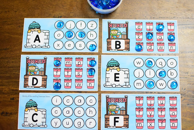 WINTER THEMED UNIT: UPPERCASE AND LOWERCASE LETTER MATCH from A to Z