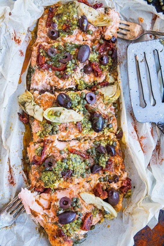 Mediterranean Salmon In Parchment Paper