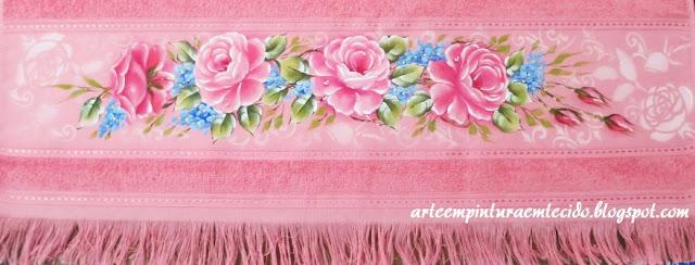 pintura em tecido rosas toalha