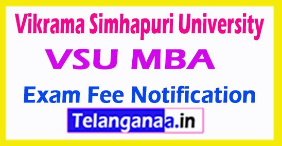 Vikrama Simhapuri University VSU MBA Exam Fee Notification