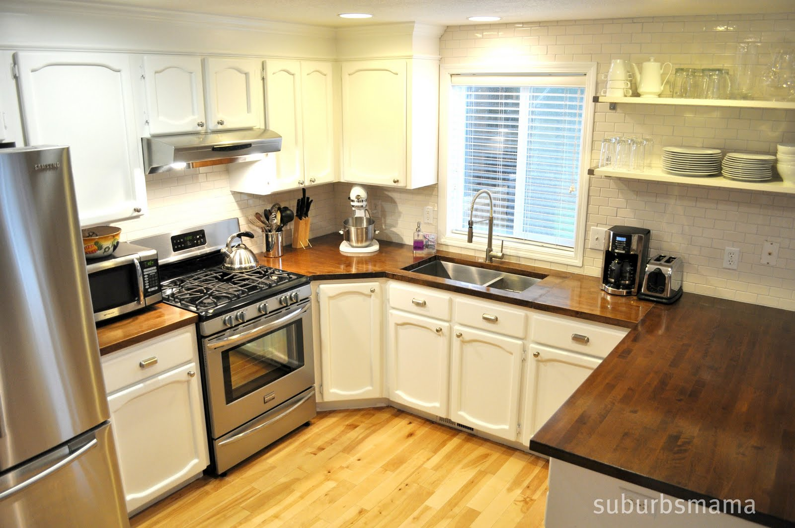 White Country Kitchen With Butcher Block ▻ kitchen countertop : fine butcher block kitchen countertops