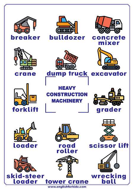 Construction machinery vocabulary - printable poster for English learners