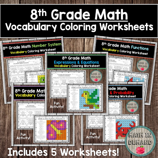 8th Grade Math Vocabulary Coloring Worksheets